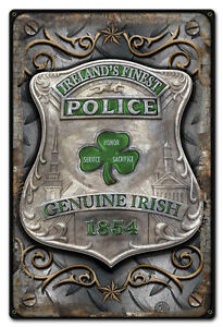 Image Is Loading Ireland 039 S Finest Police Metal Sign Hand