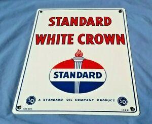 VINTAGE-STANDARD-WHITE-CROWN-GASOLINE-15-034-x-12-034-PORCELAIN-METAL-GAS-amp-OIL-SIGN