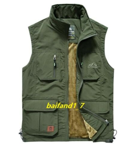 Men/'s cashmere warm vest jacket waistcoat casual outdoor vests coat multi-pocket