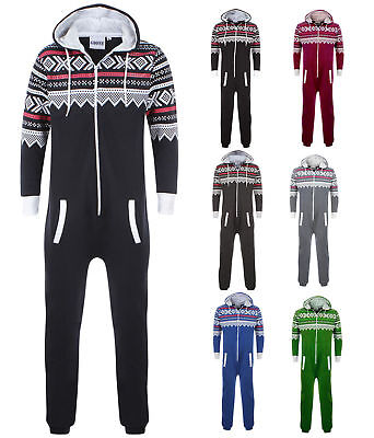 1onesie Men Women Aztec Printed Zip Up Hood All In One Jumpsuit Playsuit S - 2xl