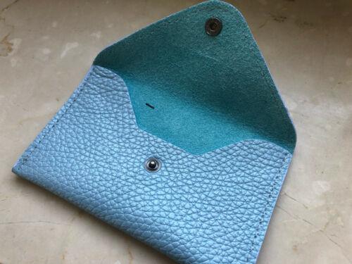 Carte de Crédit Étui Mini Porte-monnaie en cuir véritable bleu clair