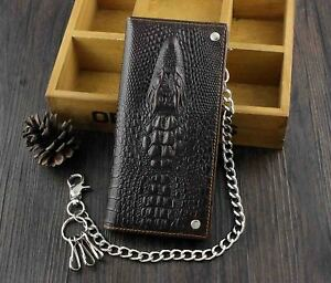 Mens-Long-Crocodile-Head-Motorcycle-Punk-Leather-Wallet-With-a-Biker-Chain