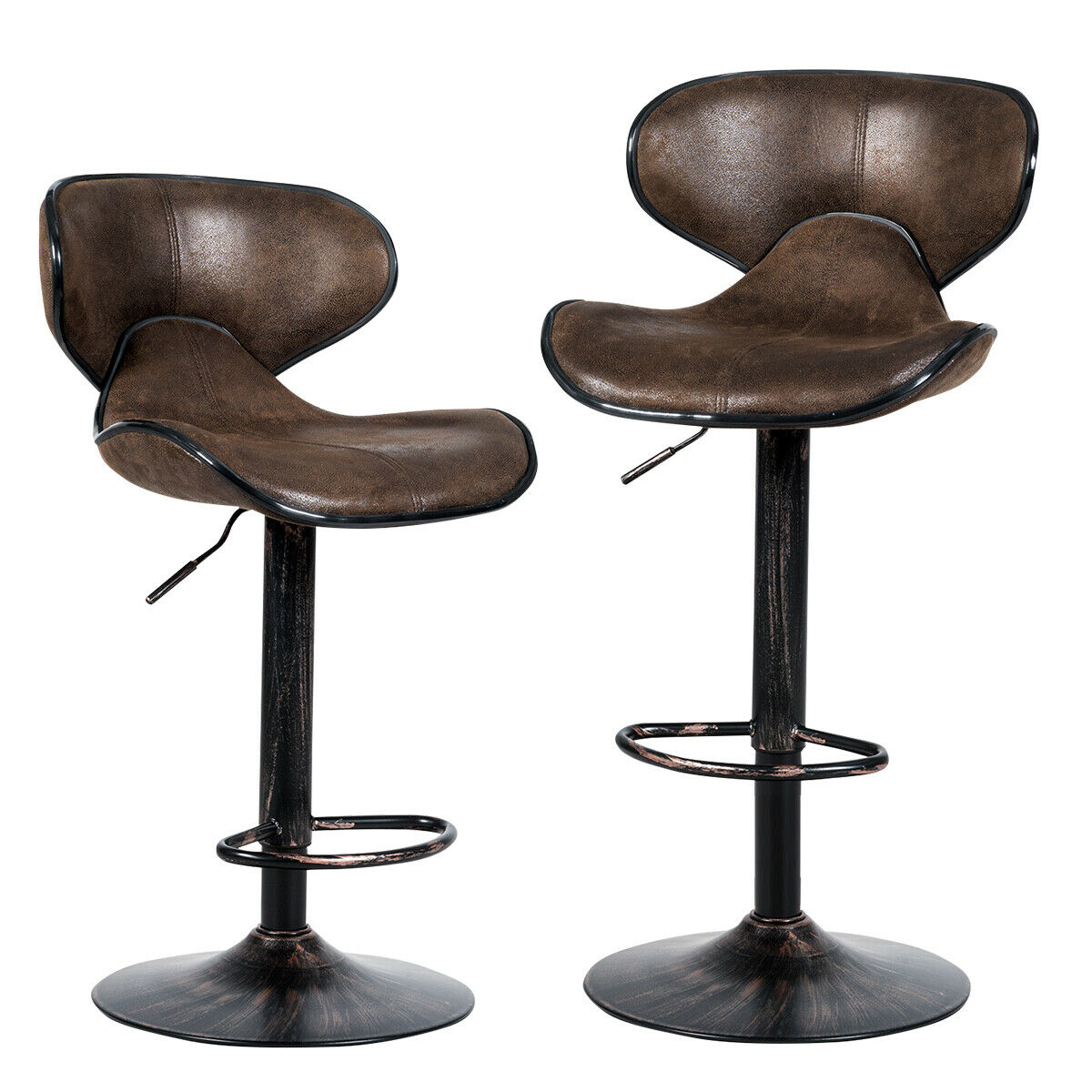 Leopard Shell Back Adjustable Swivel Bar Stools Leather Padded With Back Set Of For Sale Online Ebay