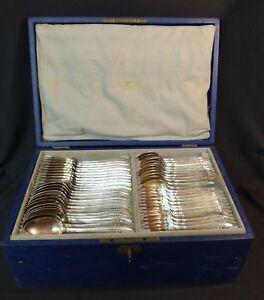 C-1910-ARGENTAL-menagere-86-pieces-metal-argent-modele-art-nouveau-couvert-chic