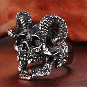 Mode-Retro-Punk-Schaf-Kopf-Ring-Gothic-Totenkopf-Ring-Herren-Ring-Romantisch-LuY