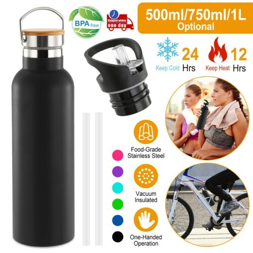 500-1000ML Double Wall Vacuum Insulated Bottle Water Flask Sport+Straws Outdoor