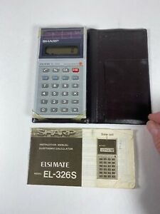 Vintage Sharp Elsi Mate Calculator EL-326S Solar Cell With Manual