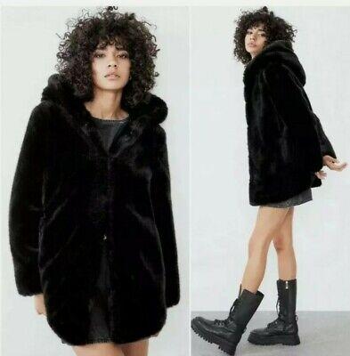 Zara Womens Black Faux Fur Coat With, Large Size Faux Fur Coats