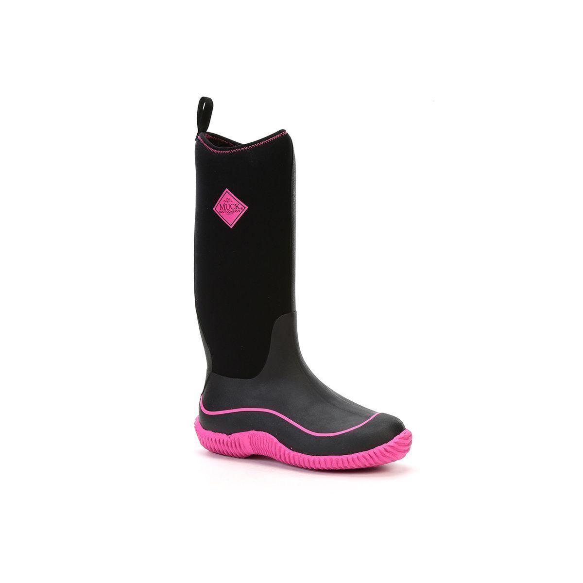 Muck Boots Company Women's HALE, BLACK-HOT PINK, Neoprene Rubber Snow