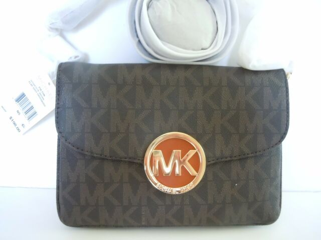 bf510ceec9ab Michael Kors Fulton Brown Crossbody Flap Gusset Handbag 32T5GFTC7B-200