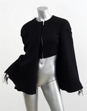THOM BROWNE Womens *RUNWAY* Black Tweed Asymmetrical Cape Jacket Coat 0/XS