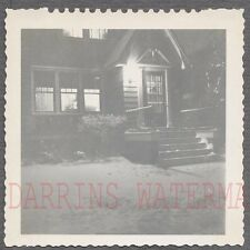 Unusual Vintage Photo Home in Winter Snow w/ Lights at Night 734053