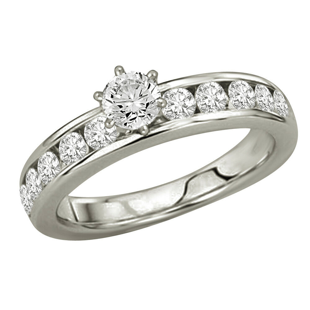 0.85 TCW L SI2 SDJ Cert Real Diamond Engagement Bridal Ring in 14kt White gold