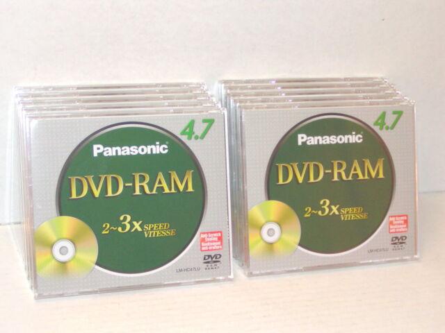 Lot of 10 DVD-RAM DVD RAM Panasonic 4.7GB 2-3X Speed LM-HC47LU Anti Scratch NEW