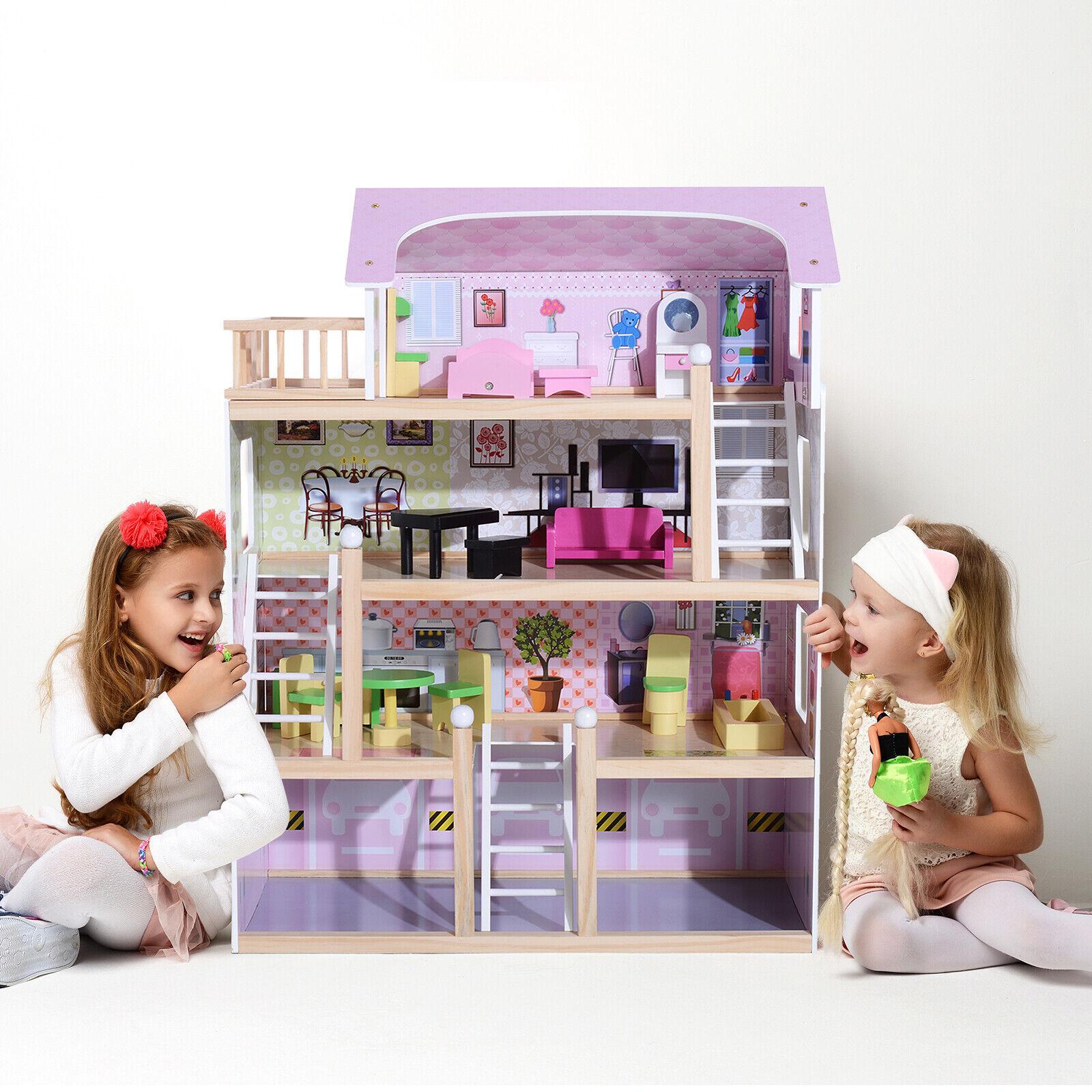 HOMCOM Kinder Puppenhaus Puppenstube Barbiehaus Dollhaus 4 Etagen mit Möbeln