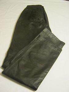 "9/NINE WEST Womens Smooth 100% Leather Pants,Sz 2 x L-31"",Espresso/Dark Brown"