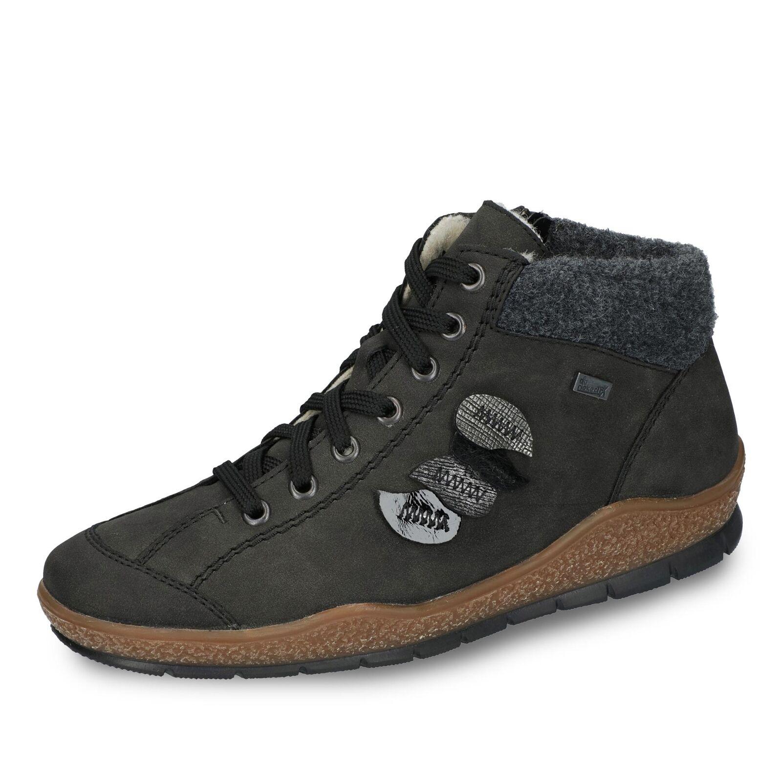 Rieker Damen TEX-Schnürschuh Halbschuhe Schnürschuhe Schuhe Lederimitat grau