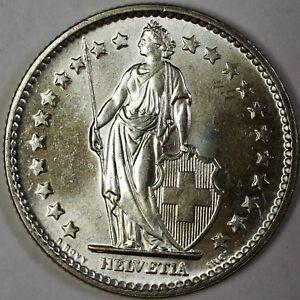 1967-B-Switzerland-2-Francs-Brilliant-Uncirculated-Helvetia-Silver-Coin