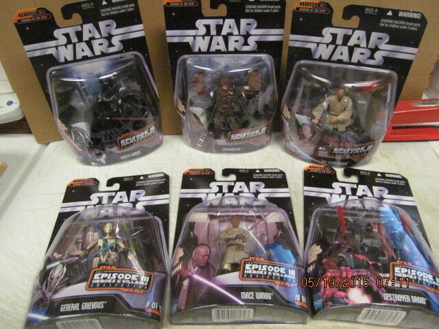 Hasbro 2006 Star Wars Lot of 6 Episode III Revenge of the Sith Heroes & Villains