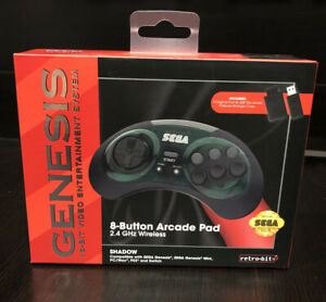 Retro-Bit-Sega-Genesis-2-4-GHz-Wireless-Controller-8-Button-Arcade-Pad-Shadow