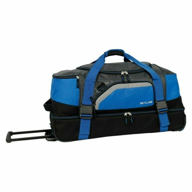 Nwt Skyline 30 Drop Bottom Rolling Duffel Travel Bag Blue Luggage Suitcase For Sale Online