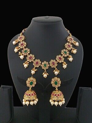 Indian Jewelry Necklace set Bollywood Ethnic Gold Plated Party Wear Set
