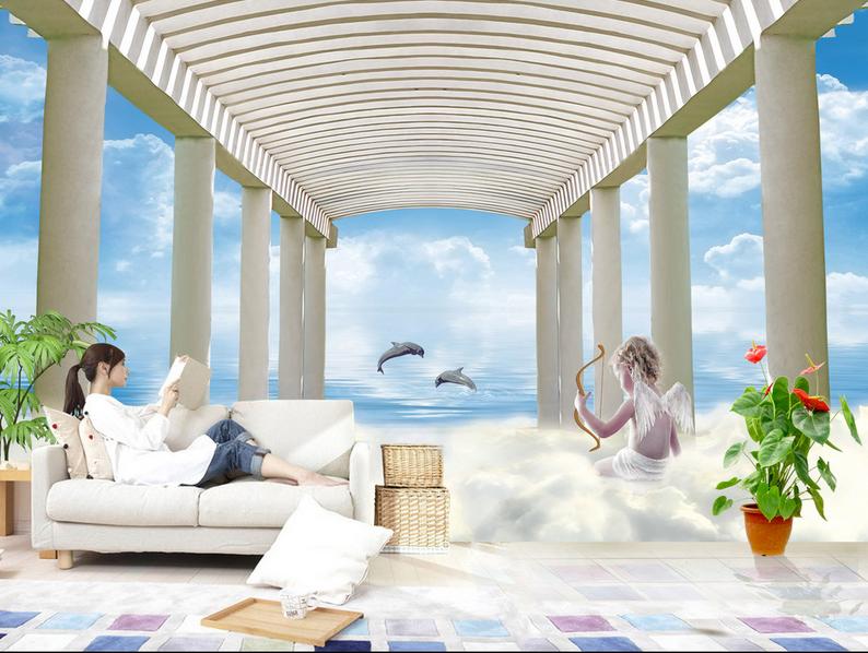 3D Engel Promenaden Delfin 8 Tapete Wandgemälde Tapete Tapeten Bild Familie DE
