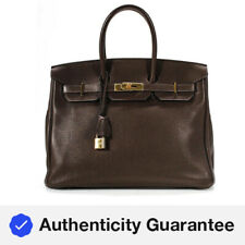 Hermes Clemence Birkin 35 Satchel Handbag Brown Gold Tone