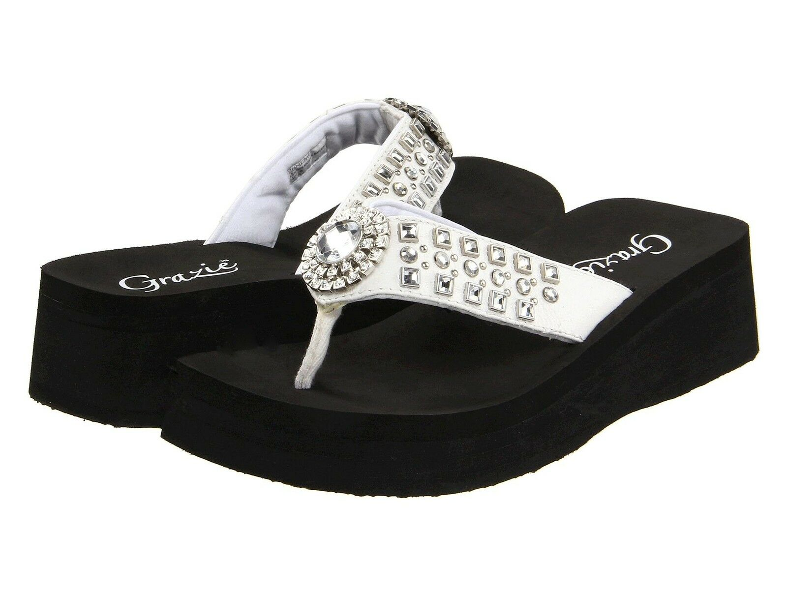 Grazie Tongs Sandales Chaussures Sabina Womans diapositives Bling Strass Blanc NEUF