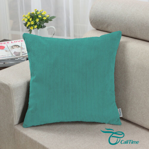 """Pack of 2 CaliTime Pillow Covers Cases Home Decor Teal Corduroy Stripes 20 x 20/"""""""