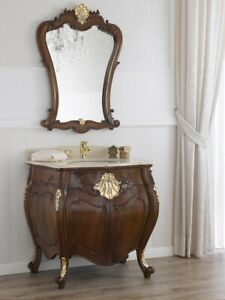 Dettagli su Como e specchio Anderson stile Barocco Inglese arredo bagno  bombato noce e fogli