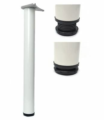 Obbiettivo 1 X 1100mm Bianco Regolabile Bar Supporto Tavolo Gamba 60mm-