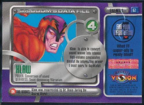 1996 Marvel Vision Trading Card #62 Klaw