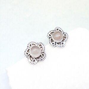 Rosenquarz-rosa-rund-Bluete-Design-Ohrringe-Ohrstecker-925-Sterling-Silber-neu