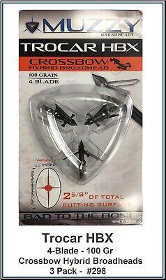 1 package Muzzy Archery Trocar HB Hybrid Mechanical 4 blade 100 Gr 3 Broadheads