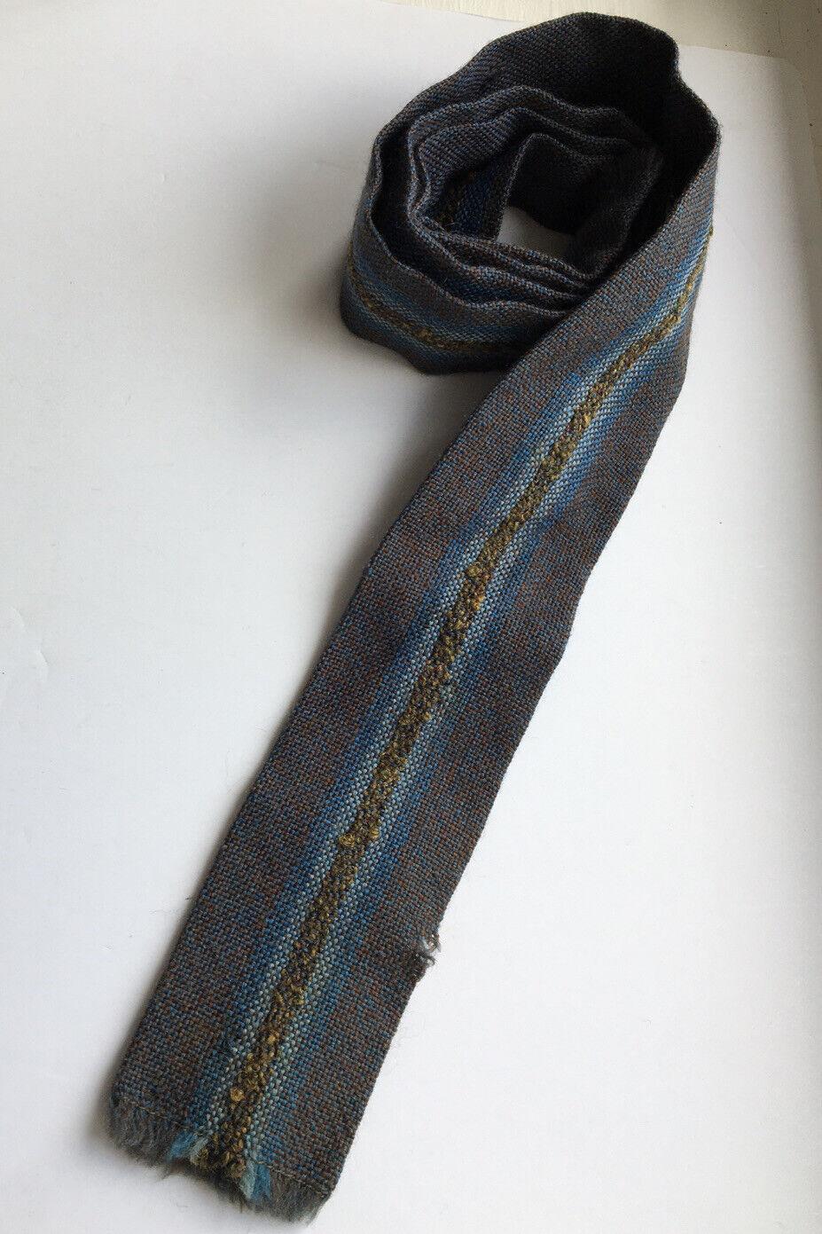 Vintage 100% Wool Tweed Square End Skinny Tie Vardoc Oxford Hipster Mod 1960's