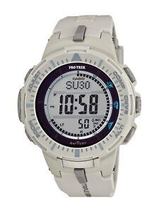 Casio Pro Trek Men's Quartz Triple Sensor White Resin 47mm Watch PRG300-8