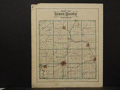 Antiques North America Maps Green County 1902 Double Sided K6#60 Skillful Manufacture Well-Educated Wisconsin