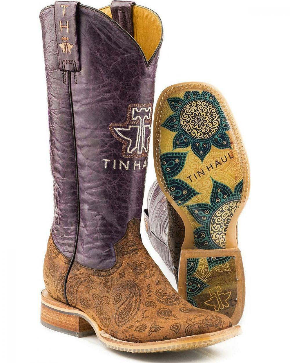 Nuevo en caja para mujer Tin Haul Paisley botas de de de lluvia con Flowerful suela hecho a mano Talla 7  sorteos de estadio