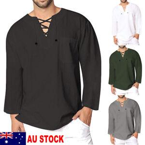 AU-New-Mens-Casual-T-Shirt-Cotton-Linen-Tee-Hippie-Shirts-Long-Sleeve-Yoga-Top