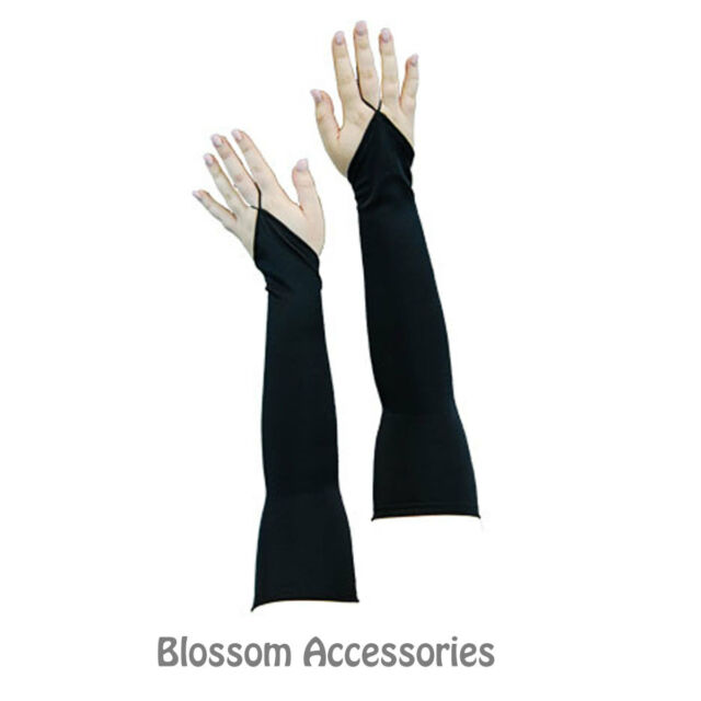 AS117 Sexy Long Stretch Black Gloves Lingerie Burlesque Costume