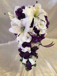 Purple white wedding bridal bouquet cascade silk rose flower package image is loading purple white wedding bridal bouquet cascade silk rose mightylinksfo