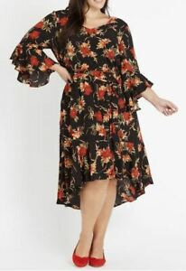 AUTOGRAPH-Dress-Plus-Size-16-18-20-22-24-Black-Floral-Evening-Bell-Sleeve