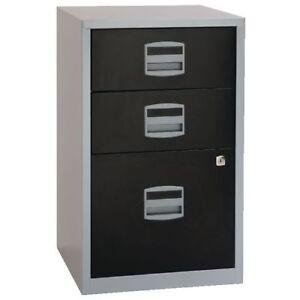 bisley 2   3 drawer a4 locking filing cabinet white black