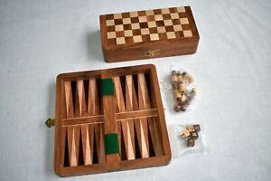 Schach-Backgammon-Dame-Set Feld 30 mm Randbeschriftung