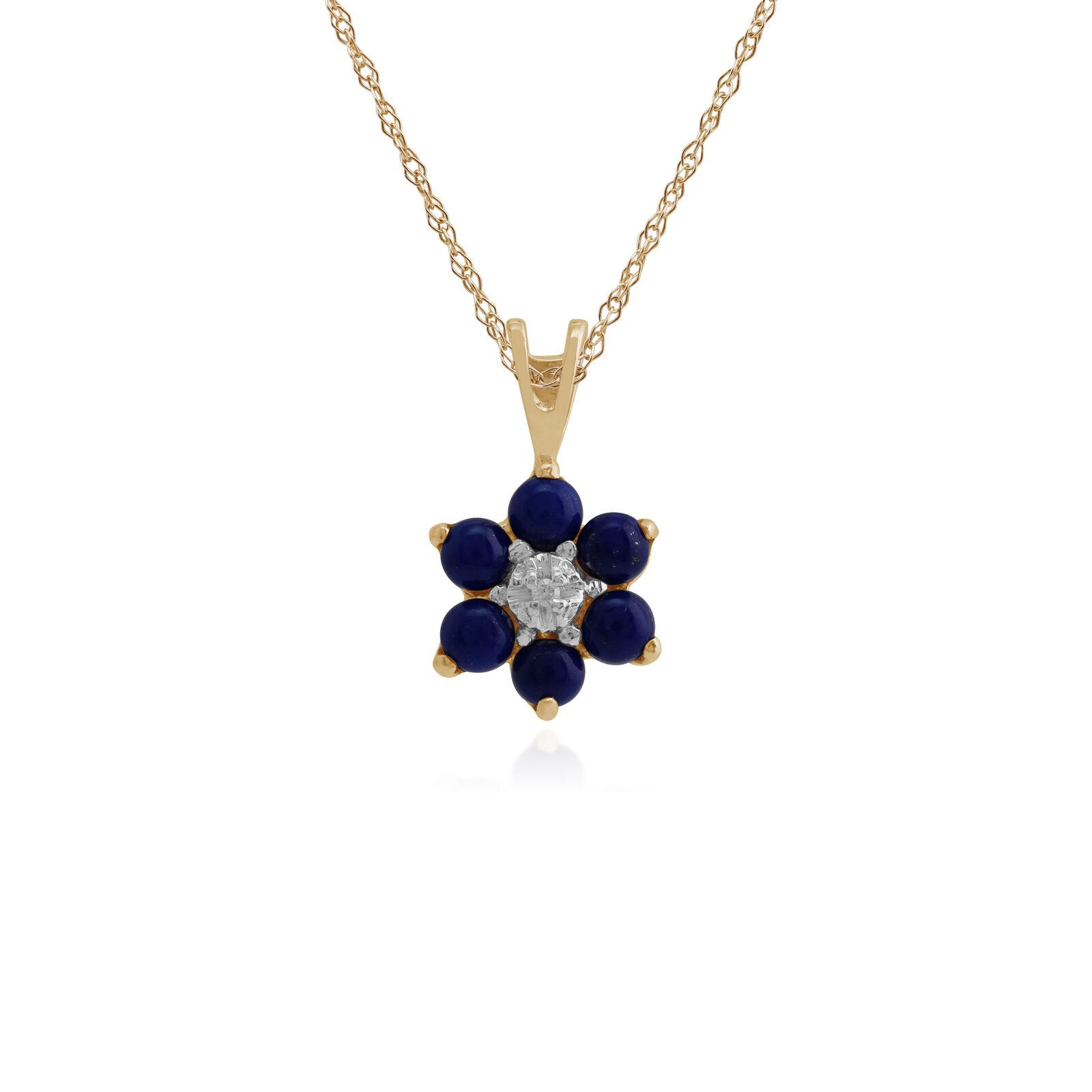 9ct Yellow gold 0.46ct Lapis Lbluei & Diamond Floral Pendant on 45cm Chain