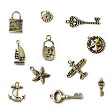 Steampunk Antique Brass Charms - Nautical, Keys and Locks - Jewelry Findings