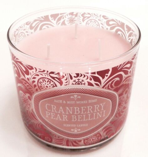 BATH /& BODY WORKS HOME CRANBERRY PEAR BELLINI SCENTED 3 WICK CANDLE 14.5oz NEW!