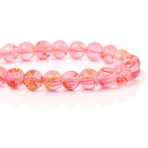 BULK 100 Glass Beads 8mm Transparent Rose Pink with Gold BD025 1 Strand