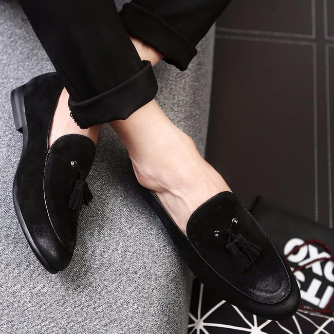 Men black Suede Tassels moccasins loafer shoes Men casual shoes Shoes for men